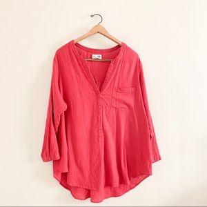 Old Navy Pink 1/2 Button Cotton Tunic - XXL